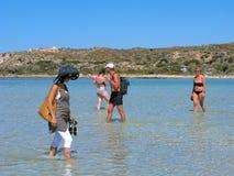 Leute, Elafonisi, Kreta, Griechenland stockfotografie