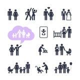 Leute-Familien-Piktogrammsatz Stockfotos