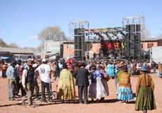 Leute am Festival, Mollebamba, La Paz, Bolivien Lizenzfreie Stockfotos