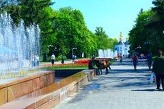 Leute gehen in den Park mit Blumenbeeten und Brunnen Lizenzfreies Stockbild