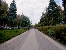 Leute gehen hinunter die Straße, Zeitspanne Russland, Krasnodar am 29. September 2018 stock video footage