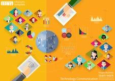 Leute-Geschäftsteamarbeit Technologie-Kommunikation über Weltmoderner Idee und Konzept Vector Illustration Infographic-Schablone  stockfotografie