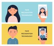 Leute-Gesichter und Smartphone-Schirme Gesichtserkennungs-Technologie-Vektor Illustation Stockbild
