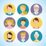 Leute-Gesichtsavatara der flachen Ikone des Vektors gesetzter Lizenzfreie Stockfotos