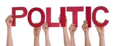 Leute-Hände, die rotes gerades Wort diplomatisch halten stockfotos