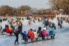 Leute haben einen Spaß im Winter Lizenzfreies Stockfoto