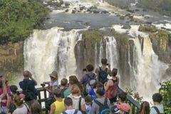 Leute an Iguazu-Park in Brasilien lizenzfreie stockfotografie