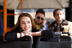 Leute im Bus sie wunderte sich Transport Stockbilder