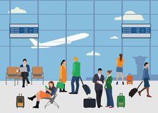 Leute im flachen Artdesign des Flughafens Mann und Frau Lizenzfreie Stockfotografie