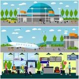 Leute im Flughafen, flacher Satz Lizenzfreie Stockbilder