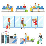 Leute im Flughafen Innen, Sicherheitsmaßnahmen führend, warten auf den Flug und kommen zum Bestimmungsort an vektor abbildung