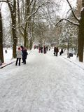 Leute im Park am schneebedeckten Tag Lizenzfreies Stockfoto