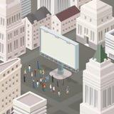 Leute im Quadrat, welches die Anschlagtafel betrachtet Lizenzfreie Stockfotos