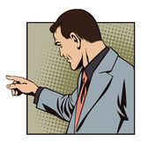 Leute im Retrostilknall Geschäftsmann zeigt Finger Stockbilder