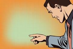 Leute im Retrostilknall Geschäftsmann zeigt Finger Stockfoto