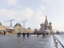 Leute im Roten Platz am Weihnachten Lizenzfreie Stockfotos