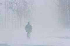 Leute im Schneesturm Stockbilder