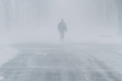 Leute im Schneesturm Stockfotos