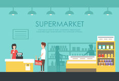 Leute im Supermarkt Flache Illustration des Vektors Gemischtwarenladen Lizenzfreies Stockbild