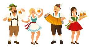 Leute im traditionellen deutschen, bayerischen Kostüm, das Bierkrüge, Oktoberfest, Karikaturvektorillustration an lokalisiert häl Stockbilder