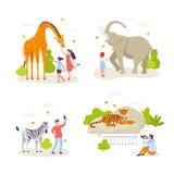 Leute im Zoo, der Tiere betrachtet und mit ihnen fungiert Nette wilde Tiere, frohe Naturen, Kinderkarikatur stock abbildung
