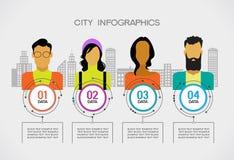 Leute infographic auf der Stadt mit Gebäude Stockbild