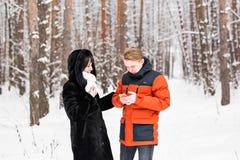 Leute-, Jahreszeit-, Liebes-, Technologie- und Freizeitkonzept - glückliches Paar mit Smartphone an über Winterhintergrund Lizenzfreie Stockbilder