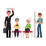 Leute, jung und alt, sitzend und stehen in der Untergrundbahn Lizenzfreie Stockbilder