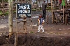 Leute in Kenia, die schwarzen Menschen, die Leben von Leuten in Afrika Stockfotografie