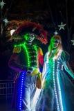Leute kleideten oben mit LED beleuchteten Kostümen, Duryu-Park-sternenklare Nachtbeleuchtungsnacht in Daegu Südkorea an Stockfoto