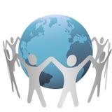 Leute-Kreis-Versammlung um die Erde Lizenzfreie Stockfotos
