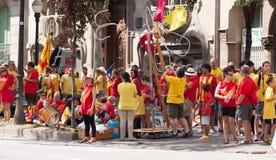 Leute laufen am Nationaltag von Katalonien zusammen Lizenzfreies Stockbild