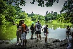 Leute machen Fotos, aufpassen die Landschaft in Central Park, New York Stockfoto