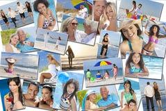 Leute-Mann-Frauen-Kinderfamilien-Strand-Ferien-Feiertag Lizenzfreies Stockfoto