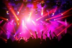 Leute, Menge auf Konzert Purpurrotes Licht vom Stadium stockbilder