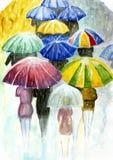 Leute mit bunten Regenschirmen im Regen Stockfotografie