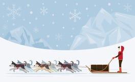 Leute mit den arktischen rodelnden Hunden, Eisberg-Hintergrund Lizenzfreies Stockfoto