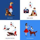 Leute mit den Hunden eingestellt Stockfotografie