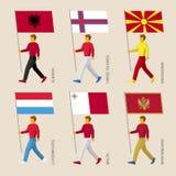 Leute mit Flaggen - Albanien, Färöer, Mazedonien, Luxemburg, Malta, Montenegro Stockfoto