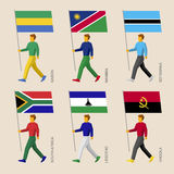 Leute mit Flaggen - Gabun, Namibia, Botswana, Südafrika, Lesotho, Angola Stockbilder