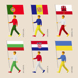 Leute mit Flaggen - Portugal, Andorra, Ukraine, Gibraltar, Kroatien, Bulgarien Stockfotografie