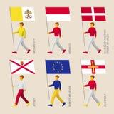 Leute mit Flaggen - Vatikan, Monaco, Malta, Jersey, Guernsey, EU Stockfoto