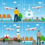 Leute mit Gepäck-Taschen am Flughafen Lizenzfreie Stockbilder