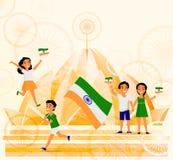 Leute mit indischen Flaggen, Lotus-Tempel, Postkarte Stockfotografie