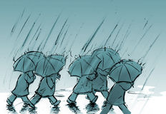 Leute mit Regenschirmen Lizenzfreies Stockfoto