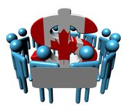 Leute mit Zeichen und kanadischem Dollar Lizenzfreies Stockfoto
