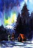 Leute nahe dem Zelt in den Bergen bewundern die Nordlichter hinter den dunklen Schattenbildern von Tannenbäumen vektor abbildung