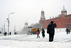 Roter Platz in Moskau im Winter Stockbild