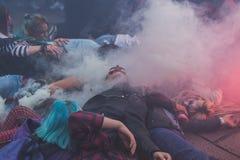 Leute nehmen am Zombie-Weg 2015 in Mailand, Italien teil Stockfotos