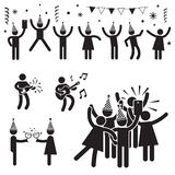 Leute-Partei-Symbole B&W Lizenzfreie Stockfotos